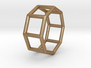 0433 Octagonal Prism (a=1cm) #001 in Matte Gold Steel