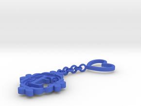 E Keychain Art Nouveau  in Blue Processed Versatile Plastic