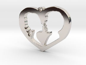 Two in Love Pendant - Amour Collection in Rhodium Plated Brass