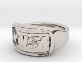 Ring USA 49mm in Rhodium Plated Brass