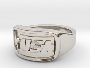 Ring USA 62mm in Rhodium Plated