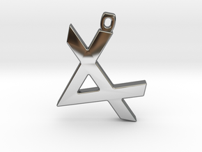 Letter ALEPH - Paleo Hebrew - With Chain Loop in Fine Detail Polished Silver