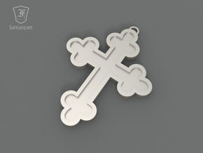 Trefoil Cross Pendant in Polished Nickel Steel