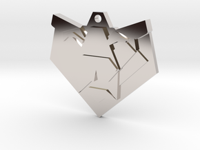 Lion Origami Earring in Rhodium Plated Brass