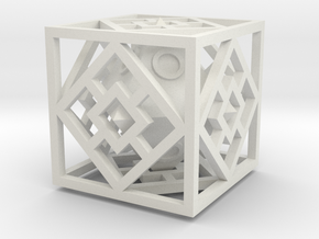 Bipyramidal Cube in White Natural Versatile Plastic