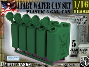 1-16 Military Water Can 5 Units in Green Processed Versatile Plastic