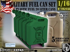 1-16 Military Fuel Can 5 Units in White Natural Versatile Plastic