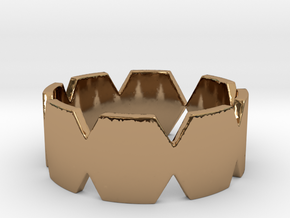 Hexa Ring in Polished Brass