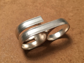 Double Ring in Natural Silver