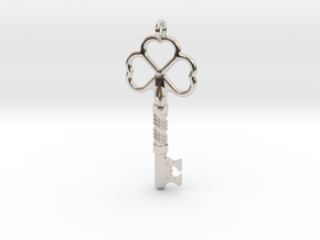 Love Key in Rhodium Plated Brass
