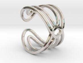 Geometri-K waves ring size 6 Small medium in Rhodium Plated Brass
