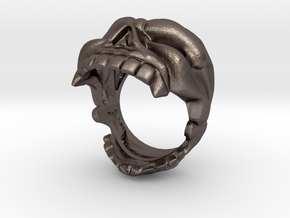 Reaper Skull bottle opener ring size 8 in Polished Bronzed Silver Steel