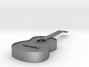 Guitar Pendant in Natural Silver