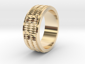 Pattern Ring Size 6 in 14k Gold Plated Brass