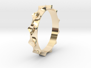 Curve  Pattern Ring- Size 6 in 14k Gold Plated Brass
