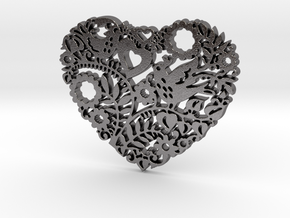 Two Birds in a Heart's Garden - Amour  in Polished Nickel Steel