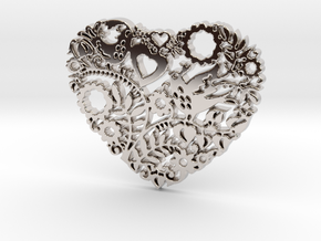 Two Birds in a Heart's Garden - Amour  in Rhodium Plated Brass