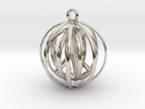 3D  Peace In A Protective Shield Pendant/Key Chain in Platinum