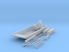 Flat Bottom Boat 01.  1:64 Scale in Smooth Fine Detail Plastic