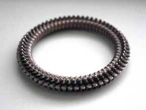Spine cockring in Polished Bronzed Silver Steel