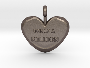 One in a Million Valentine Heart pedant in Polished Bronzed Silver Steel