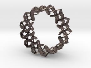 Tzompantli Bangle in Polished Bronzed Silver Steel: Large