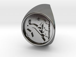 Custom Signet Ring 21 in Polished Silver