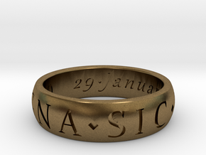 Size 9 Sir Francis Drake, Sic Parvis Magna Ring  in Natural Bronze
