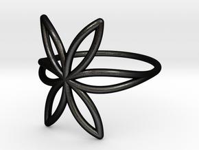 FLOWER OF LIFE Ring Nº7 in Matte Black Steel