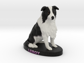 Custom Dog Figurine - Leroy in Full Color Sandstone