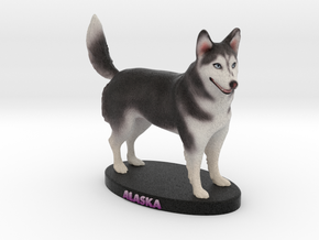 Custom Dog Figurine - Alaska in Full Color Sandstone