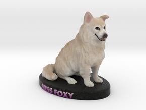 Custom Dog Figurine - Miss Foxy in Full Color Sandstone