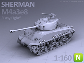 SHERMAN M4A3e8 (N scale) in Smooth Fine Detail Plastic