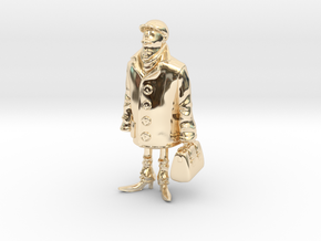 Man holding a suitcase in 14k Gold Plated Brass
