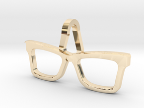 Hipster Glasses Pendant Origin in 14k Gold Plated Brass