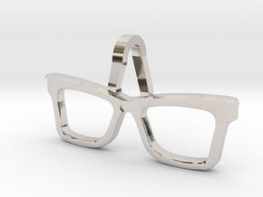 Hipster Glasses Pendant Origin in Rhodium Plated Brass