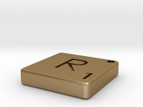 """R"" Tile in Polished Gold Steel"