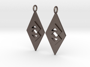 Triangle Earrings (Large) in Polished Bronzed Silver Steel