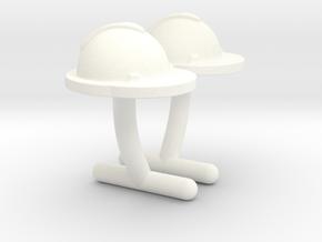 Hard Hat Cufflinks #2 in White Processed Versatile Plastic
