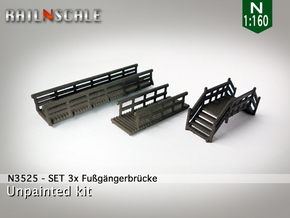 SET 3x Fußgängerbrücke (N 1:160) in White Strong & Flexible Polished