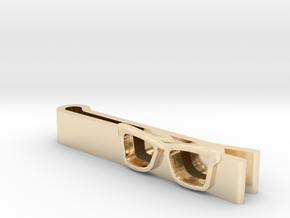 Hipster Glasses Tie-Clip Origin in 14k Gold Plated Brass