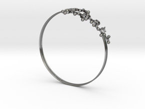 Oxytocin Bracelet 75mm Embossed in Fine Detail Polished Silver