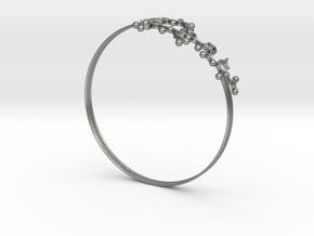 Oxytocin Bracelet 75mm Embossed in Natural Silver