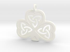 Celtic Shamrock in White Processed Versatile Plastic