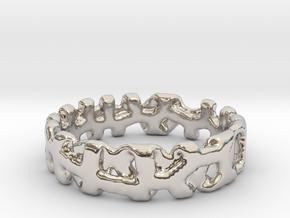 Voronoi 1 Design Ring Ø 20.2 Mm/0.797inch in Rhodium Plated Brass