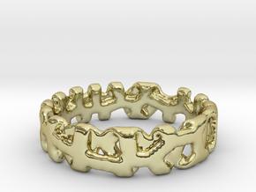 Voronoi 1 Design Ring Ø 20.2 Mm/0.797inch in 18k Gold Plated Brass