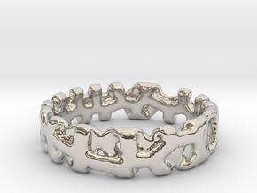 Voronoi 1 Design Ring Ø 21.3 Mm/0.839 inch in Rhodium Plated Brass