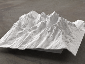 6'' Grand Tetons Terrain Model, Wyoming, USA in White Natural Versatile Plastic