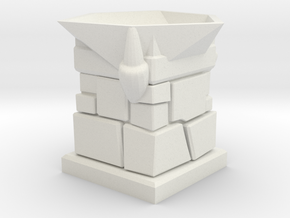 D20 Die Holder (Stone Tower With 3 Claws) in White Natural Versatile Plastic
