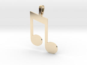 Beamed Eighth Note Sign Pendant in 14K Yellow Gold